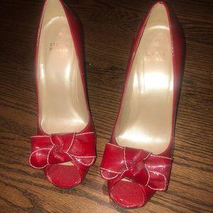 Stuart Weitzman red peep toe pumps